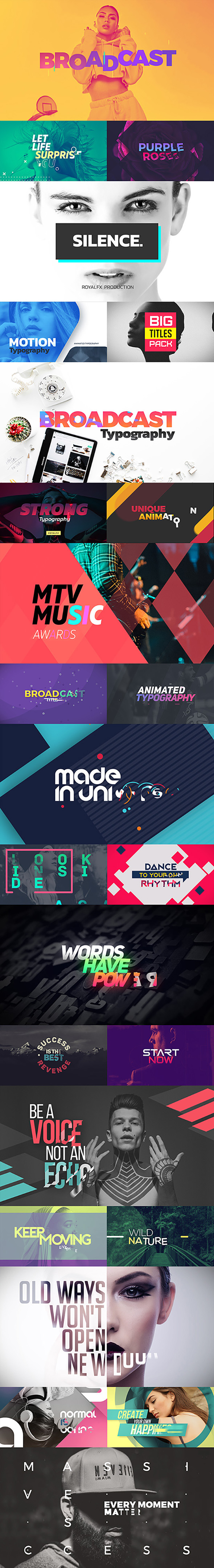 Videohive TypeX - Text Animation Tool | Broadcast Pack: Modern Colorful Typography Titles V2.0.2 20233979