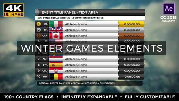 Videohive 2018 Winter Games Elements - Medal Tracker & Event Results - PyeongChang 21352971