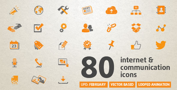 Videohive 80 Animated Internet Icons 5835388