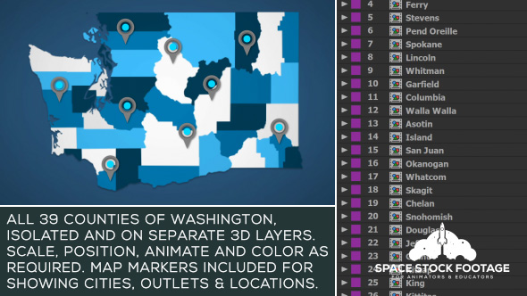 Videohive Washington Map Kit 20809199