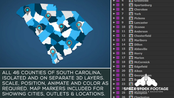 Videohive South Carolina Map Kit 20816966