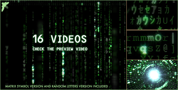 Videohive Matrix Symbol and Letters Code 16730609