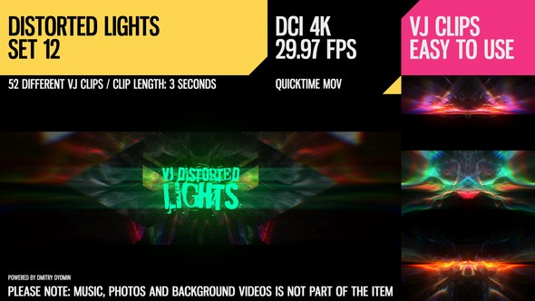 Videohive VJ Distorted Lights (4K Set 12) 19380533