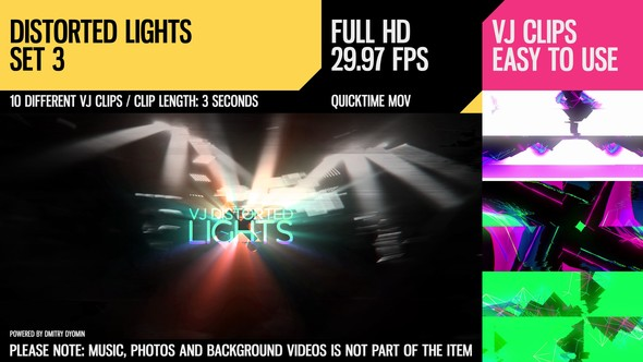 Videohive VJ Distorted Lights Set 3 18222654
