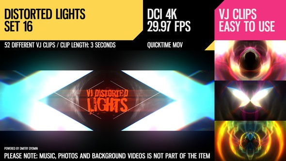 Videohive VJ Distorted Lights (4K Set 16) 19418511