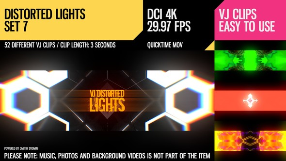 Videohive VJ Distorted Lights (4K Set 7) 19241368