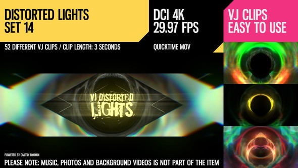 Videohive VJ Distorted Lights (4K Set 14) 19394783