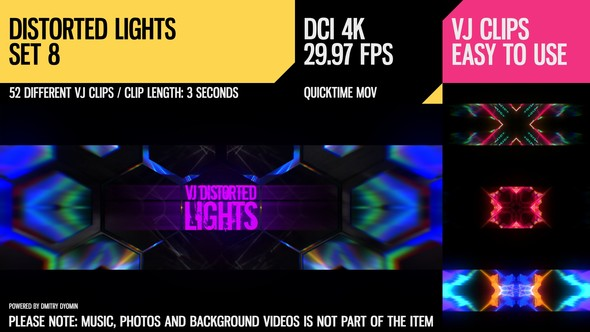 Videohive VJ Distorted Lights (4K Set 8) 19250301
