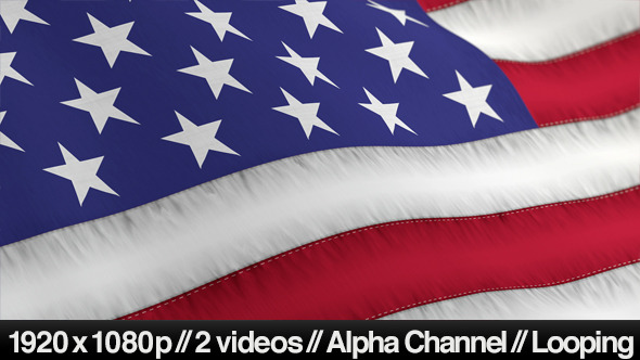 Videohive US American Flag Blowing Close Up - 2 Styles 4894023