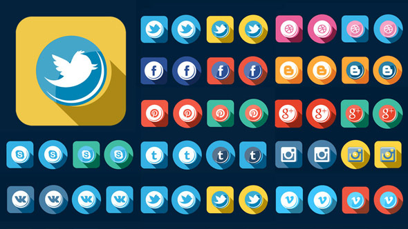 Videohive 56 Flat Style Animated Social Icons 13578940