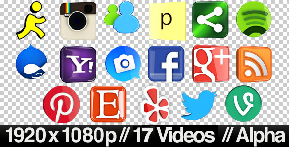 Videohive 17 Videos of 3D Social Media Icons Rotating - Loop 644576