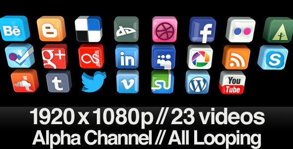 Videohive 23 Videos of 3D Social Media Icons Rotating - Loop 553940