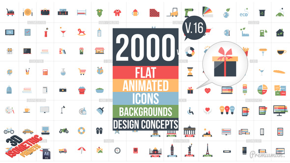 Videohive Flat Animated Icons Library V16 11453830