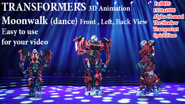 Videohive 3D Robot Transformer Moonwalk 21332329
