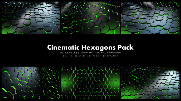 Videohive Cinematic Hexagons Green Pack 19591651